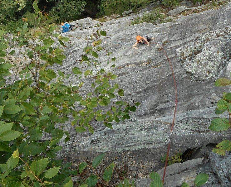 Looking down on P2, having taken a rising traverse across (as I mentioned in the comments). Done this way, I go up the P2 corner no more than 5 feet before striking out on the face.