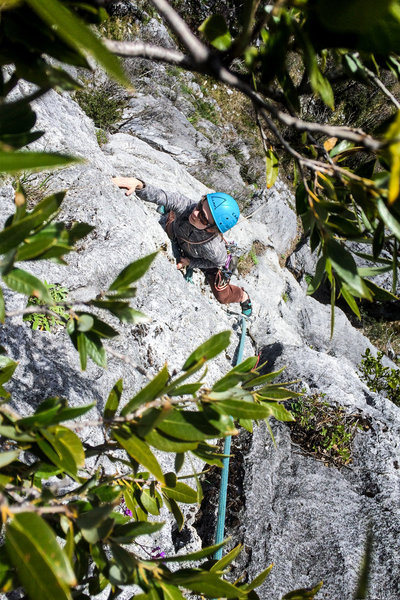 Makenzie Henk following the First Ascent of Hunger Of The Pine.
