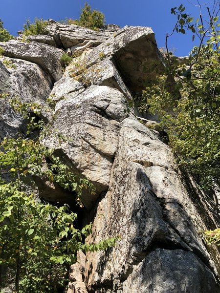 The prow at the start of Rear Exposure. The crux comes when traversing below the small overhang to the left and accessing the crack (partially hidden by small bush).