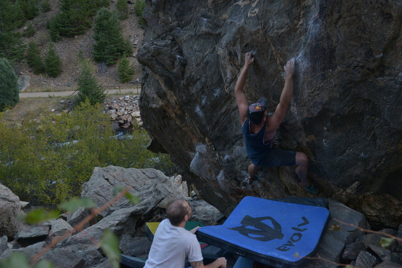 Crimping through the long sequence after the crux.