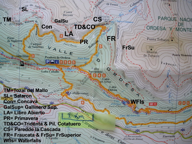 Overview of the Climbing Areas (This map is freely given away at Hotels and Information Booths, implying no copyright infringement)