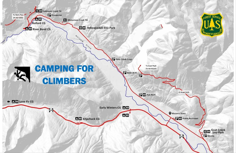 Map to help climbers find sustainable camping options. Free camping is available at the Sno-Parks from April through October.