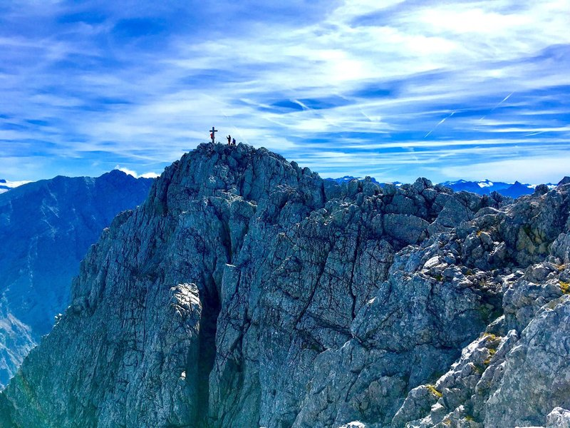 Climbers on the summit of the Hochkalter