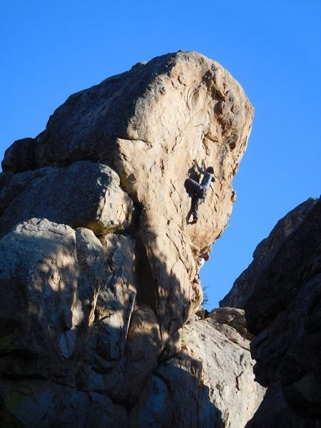 Running a lap on Mighty Quinn (5.10c), Holcomb Valley Pinnacles