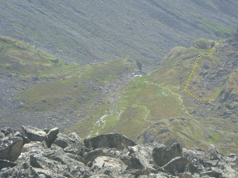 this shows the approach from the hut