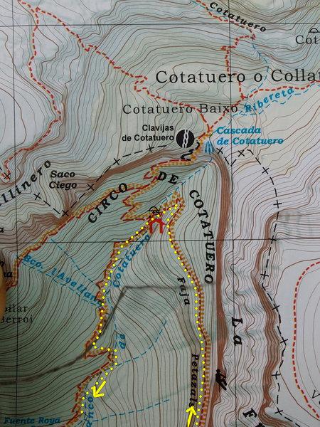 Map of the area around the Cascada de Cotatuero