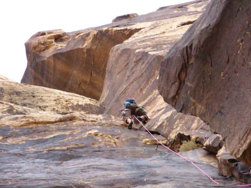 Climbing past P1 anchors -  Climbed Nov. 2009 with Jan Roestel