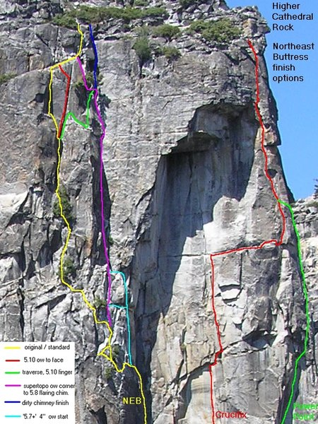 Finish options on the Northeast Buttress, and routes to the right.