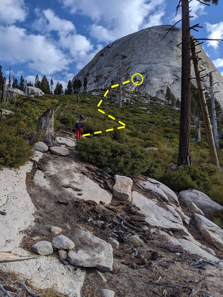 View of the base of Snake Dike after exiting the treeline.