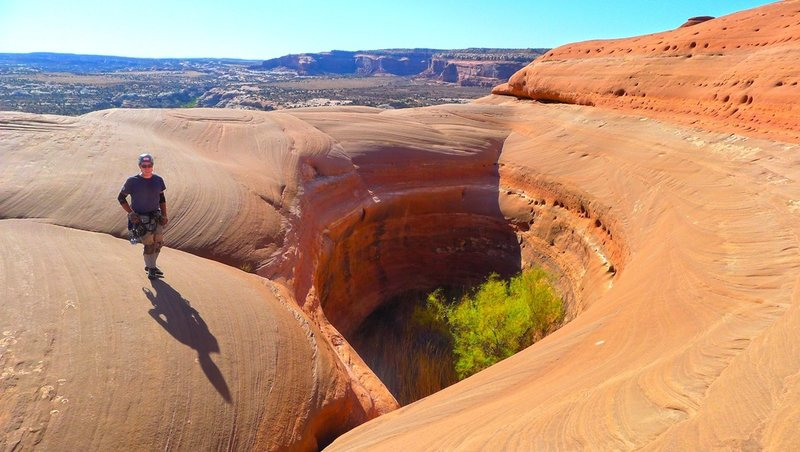 One of the large potholes atop Monitor Butte.