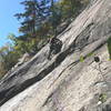 RH on Rubberneck Geek - belaying from the anchor for First Wave, Perfect Wave, etc.