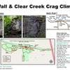 Dad's Wall and Clear Creek Crag map and roped climbs