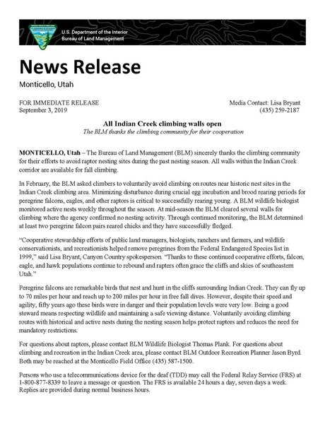 News release from the BLM, Jason Byrd, 10/11/19.