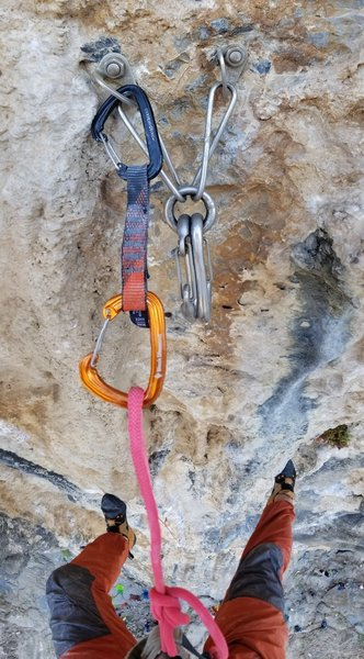 As with many of the classic climbing areas on Kalymnos  most of the routes here are equipped with fixed beaners at the top of the climb.