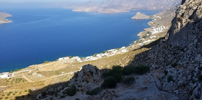 Looking out across kalymnos from the top of Zeus.