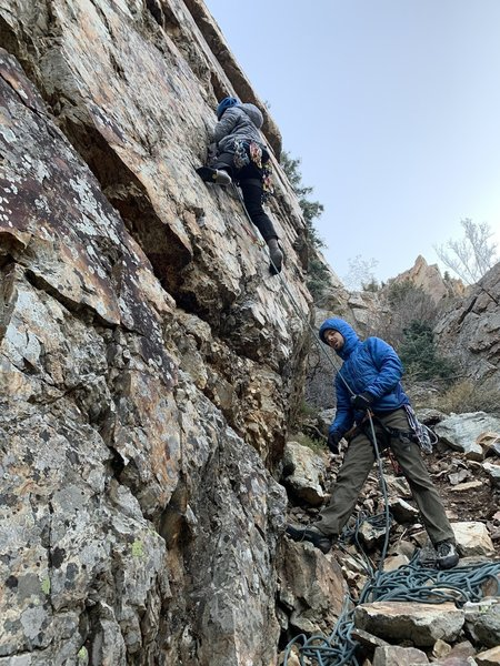 The start of Colander Man.  I think the cold was getting to my belayer as he looks like he's gonna puke/die
