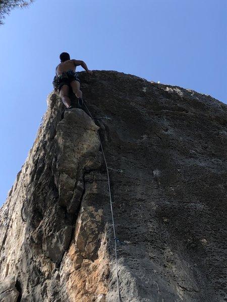 Alex nearing the top of Tiens Bon La Rampe.