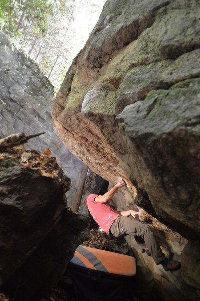"""Colton Linville moving past the first undercling after the start to """"Magnum"""""""