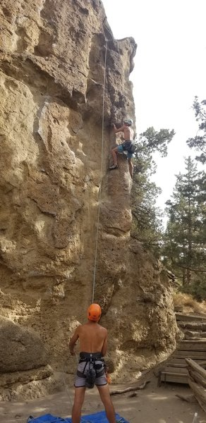 Right under the crux. Fun route, pumpy, committed moves.