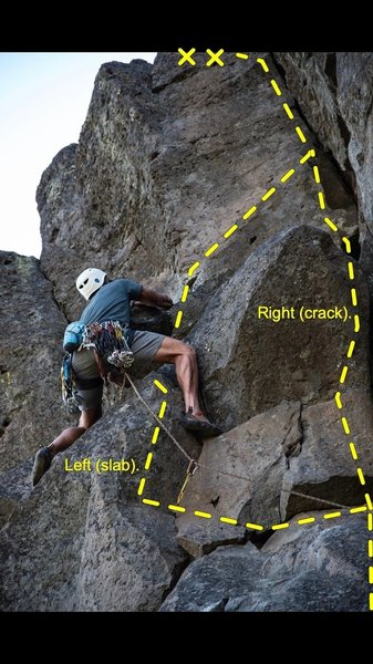"""Pictured here are """"Ajax"""" leading up the crack on the right, and """"Ajax Variation"""" stepping onto the slab to the left."""