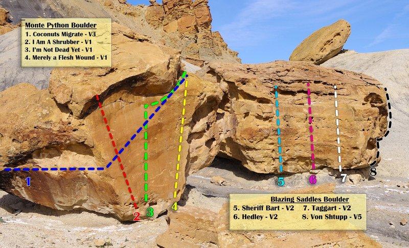 Monte Python and Blazing Saddles Boulder topos.