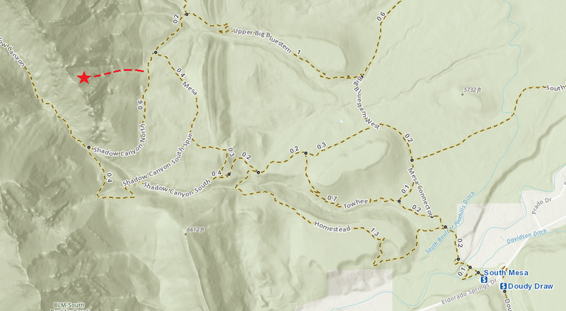 Here is all you need to know about the approach. The dotted line starts at about 39.950261, -105.283469 (https://goo.gl/maps/k2xhVgxGUatL1jBEA). Get there, head west, and you'll find the climber's trail.