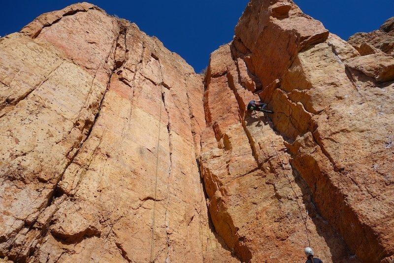The climber is on LaCholla Jackson.