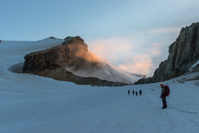 Approaching the crater around sunrise