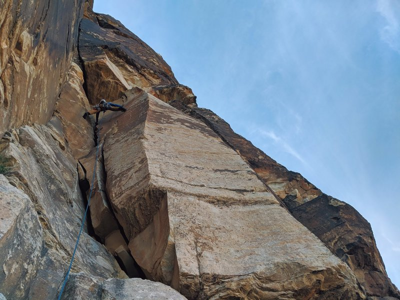 Photo from the base of pitch 1 about to enter the crux.