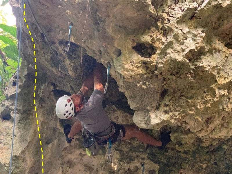 Dashed line marks Madreselva, climber in this photo is at Letty