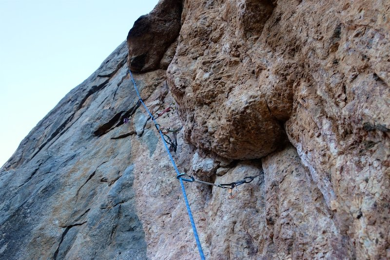 Pitch 1: this  bulge is the technical crux of the pitch, but it is well-protected.