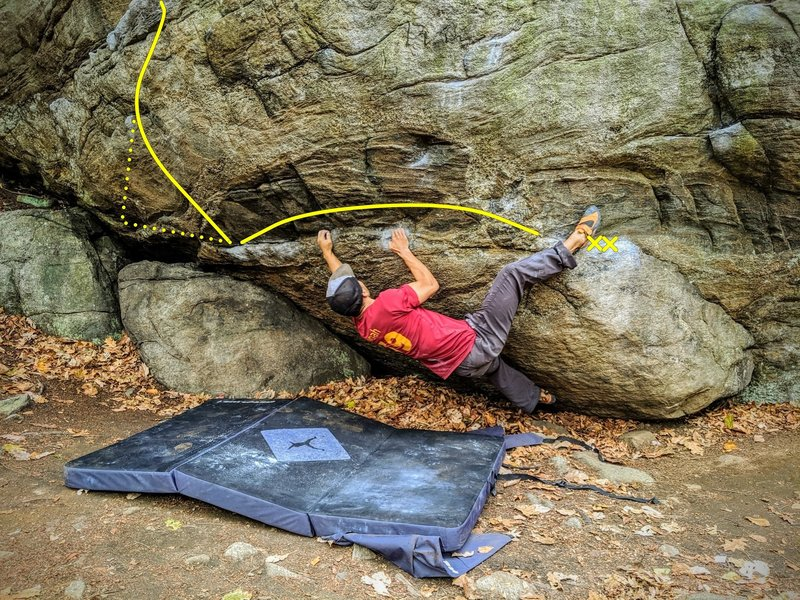 """A few moves into Railbender. Dotted line is the """"secret"""" intermediate that takes this grade down a notch in my opinion."""