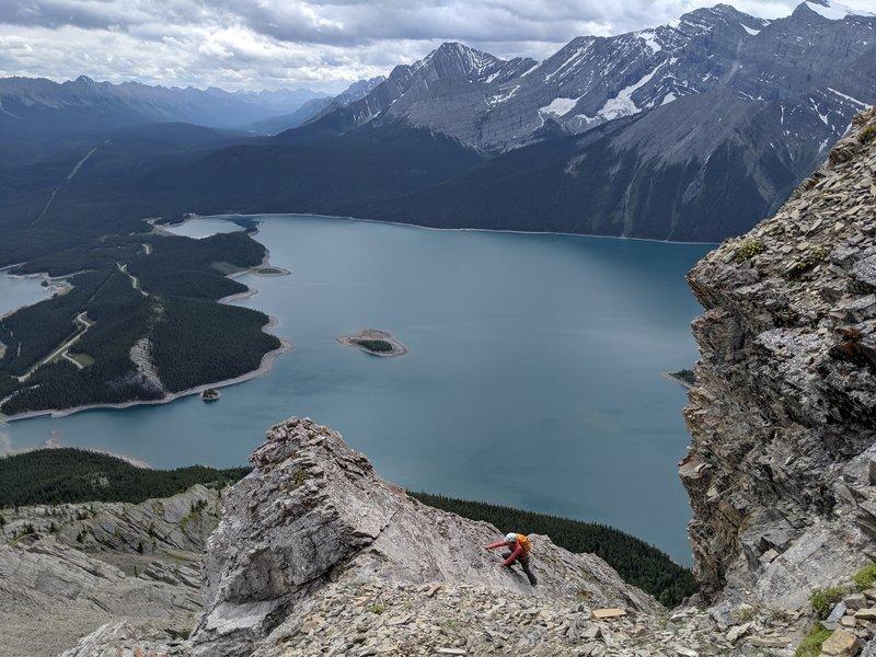 The 4th class scramble just below the summit ridge.