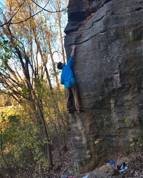 Hitting the crux on this beautiful Chandler arete.