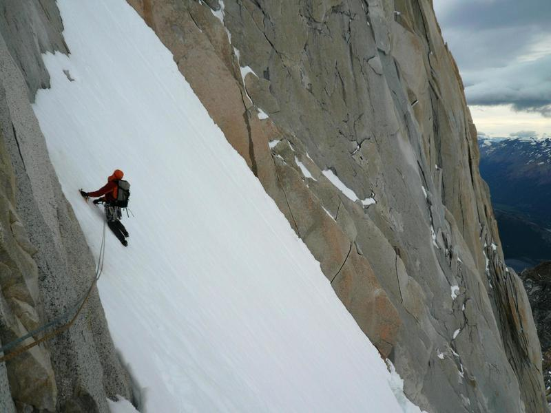 Heading up Couloir Amy, Aguja Guillaumet in Patagonia