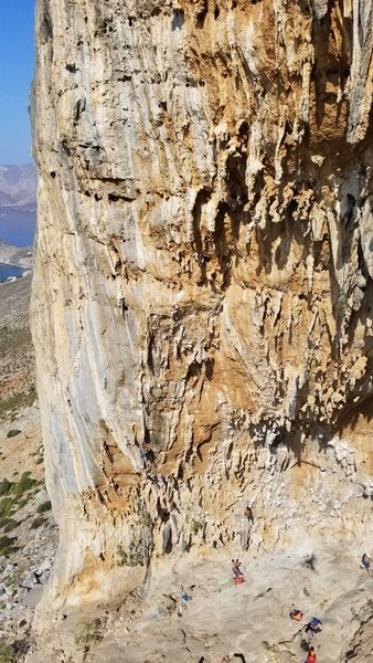 Aegialis it's not only a pumpy masterpiece but also one of the most photogenic routes on the planet. Be sure not to miss it