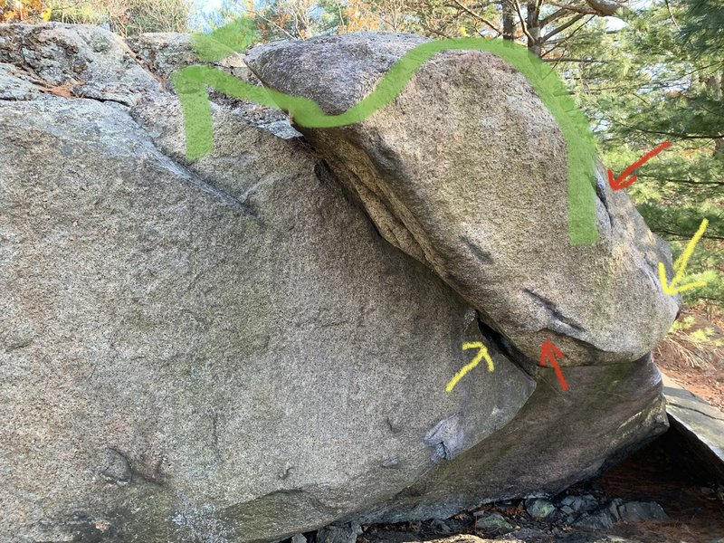 Variation start V2: red (hands) & yellow (feet).<br> <br> Left foot in the left starting hold of the original Stone Warrior and hands on the left undercling and right knob above the roof. Toss your right leg on the roof as a heel hook, and work your way left.