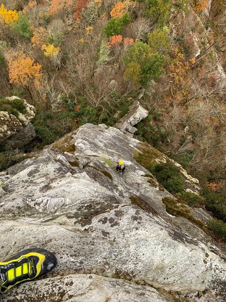 Near the top of pitch 2. My belayer is on the ledge at the top of the long pitch 1.