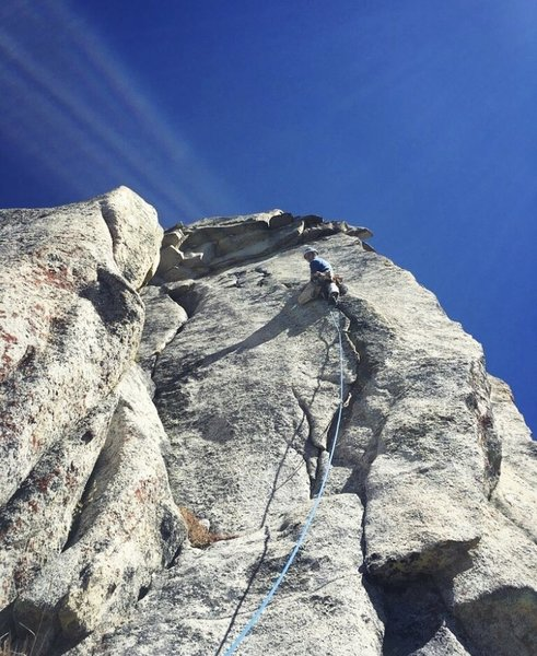 The beautiful 5.10 splitter on the crux pitch. The route continues out of view to the left, but I would now probably continue through the broken roofs, getting more gear but also maybe increasing the grade.