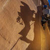 """Eric Malone Leading the overhanging start of the 5.8 """"The Big Lean """", Grumpyhighlander"""