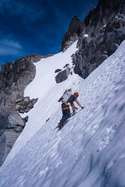 Don heading up the coulior to gain the middle notch.