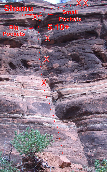 """Follow the bolts and do the """"Shamu"""" up onto the final mantle. Turns out it's more like 5.10a/b not 5.10+."""
