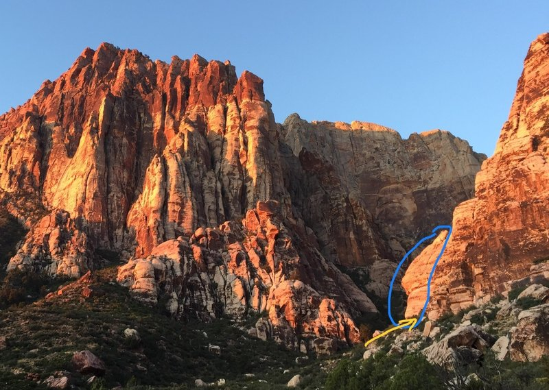 From the approach trail. The blue area is the part of Jackrabbit you need to get to. You do NOT need to enter the canyon!