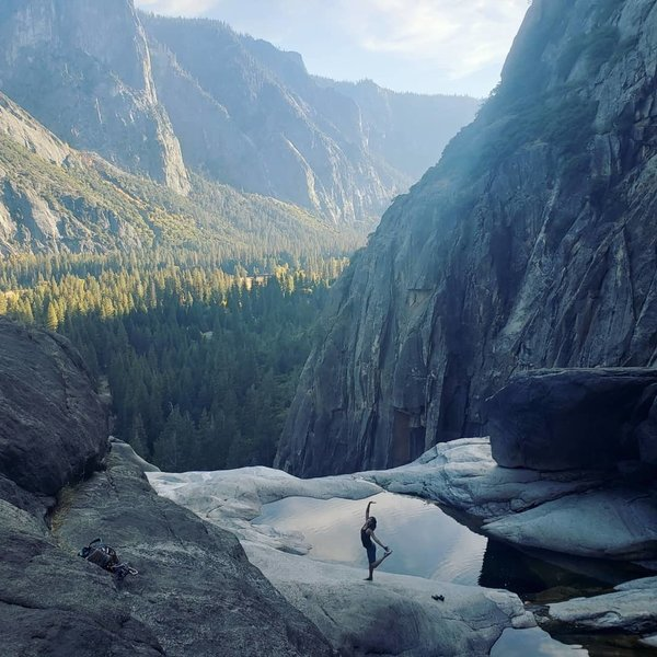 The prize: Yosemite falls pools climbers left of the topout