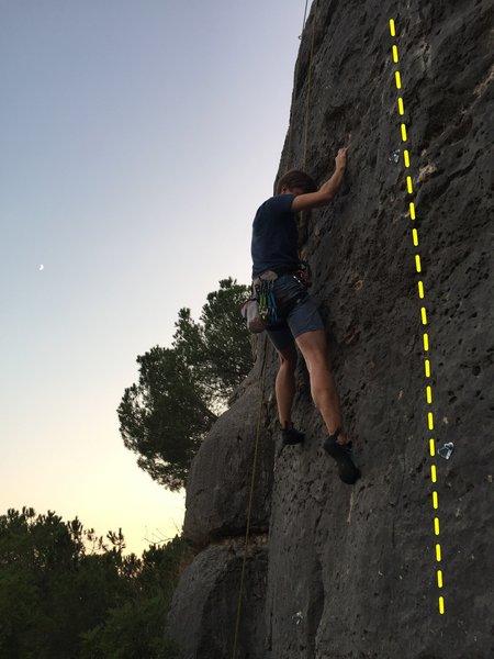Konrad on For Charlotte. Happy Birthday Jad! climbs the bolts to Konrad's right.