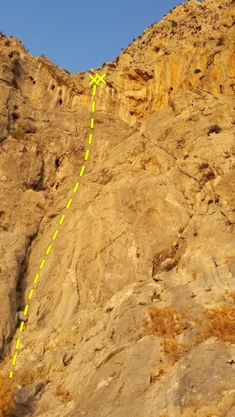 G.D.Gaz follows the red bolts up enjoyable face climbing to steep finish.