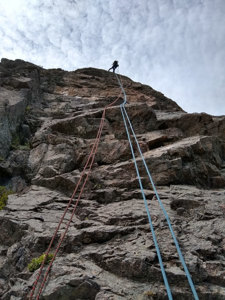 Rappelling into P3 during route building phase