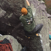 Eric Cashman climbs Pocket Protector on a snowy November day.