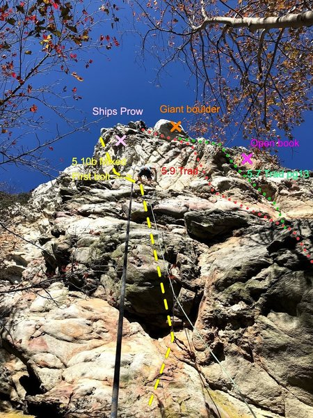 Lower climber leading up Grace Under Pressure (up and left of the ships prow), Upper climber cleaning warm up route to right.