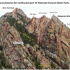 Climbing landmarks for the northwestern part of Eldorado Canyon State Park.